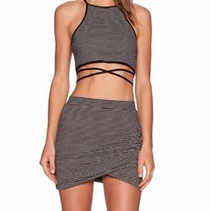Lovers + Friends Black Skirt & Crop Top Co-Ord Set